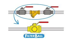 Pettinarolis Filterball er en kuglehane med integreret filter, som nemt kan rengøres og udskiftes efter behov. Den sparer dig for 2 kuglehaner og 4 samlinger