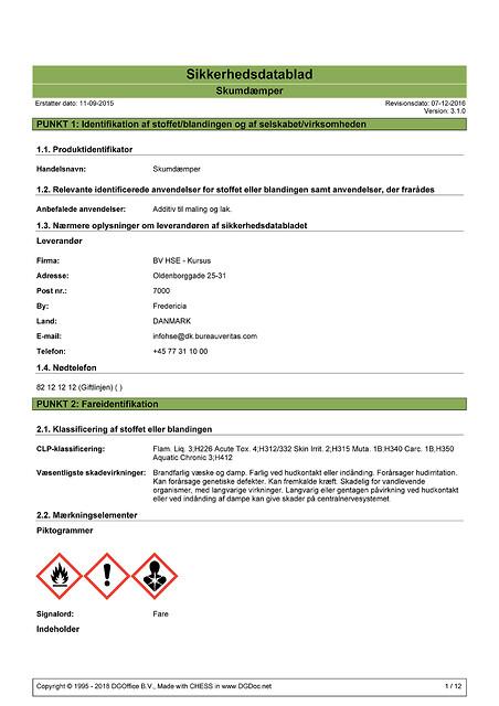 Sikkerhedsdatablade (SDS)