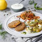 Green Cuisine, plantebaserede frosne produkter, \nklimavenlige, quinoa/sød kartoffel mini burger