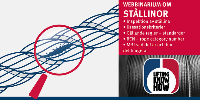 Webbinarium om stållinor – inspektion, kassation och MRT