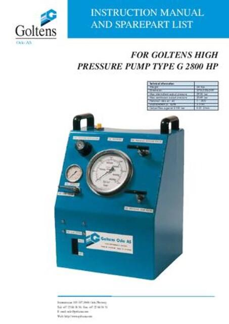 Pneumatisk hydraulisk høytrykkspumpe - G-pumpe G2800 HP fra Goltens - Høytrykkspumpe, Høytrykks pumpe, Høyttrykkspumpe, Hydraulisk høytrykkspumpe, Pneumatisk hydraulisk høytrykkspumpe