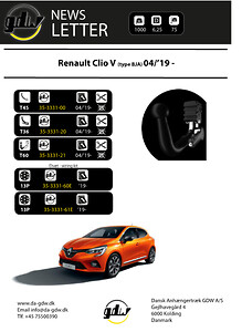 Renault Clio V   anhængertræk fast aftageligt og skjult aftageligt T60 fra Dansk Anhængertræk GDW