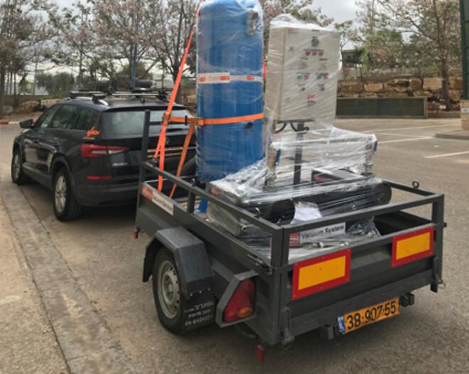 På väg från Tel Aviv till Palestina: Busch vakuumpumpar behövs för behandling av patienter som smittats av coronaviruset.