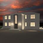 AfterDark Lysdesign Simpel visualisering uden texturer. Arkitektonisk facade og terrænlys med stemningsskabende Interiørlys. Customised lyssætning.