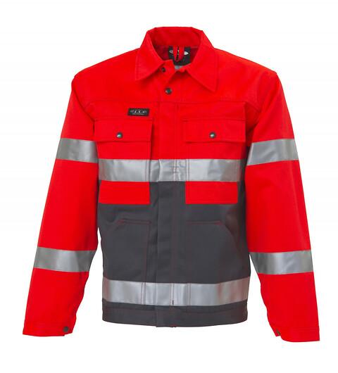 Outlet - arbejdsjakke, hi-vis, kl. 2, 11102 - rød/grå