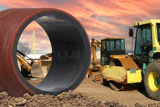 Lubrication-free, heavy-duty, wear-resistant: the new heavy-duty material iglidur TX2 saves costs and extends the service life in construction and agricultural machinery. (Source: igus GmbH)