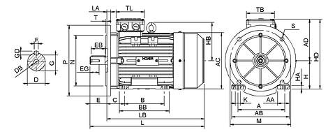 Ie3 ElektromotorHMA3 132S 6p B35 IE3