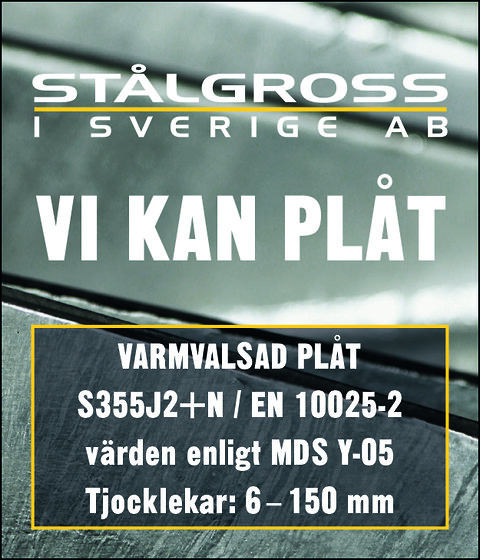 Stålgross i Sverige AB lagerför Varmvalsede plater S355J2+N (Y-05)