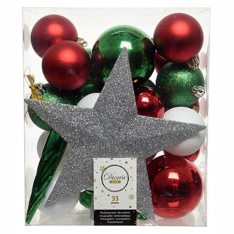Julekugle mix m stjerne, grøn, rød, hvid, 33 kugler