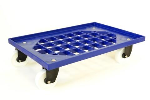 Traller 620x420 m/4 drejegf./ nylonhjul/m/gitter- blå