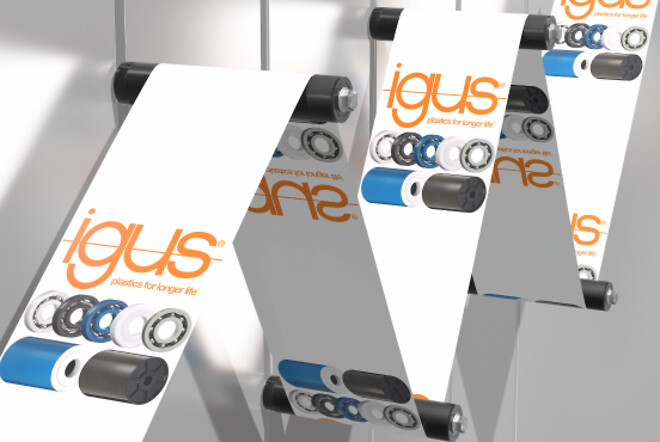 Easy and lubrication-free guidance of labels with xiros polymer ball bearing in the new black guide roller. (Source: igus GmbH)