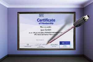"""As the 11th member of the SPE Industrial Network, igus has now received the """"PIONEER Member"""" award. The motion cable specialist now offers a highly flexible harnessed e-chain cable for Single Pair Ethernet technology. (Source: igus GmbH)"""