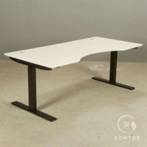 Hæve sænkebord. hvid laminat, centerbue, sort stel. 160x80