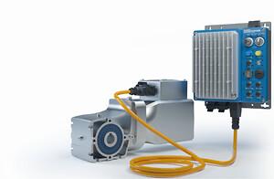 NORD-LogiDrive.jpg:  LogiDrive fra NORD DRIVESYSTEMS består af en energieffektiv permanent magnet synkronmotor, et to-trins keglegear og en NORDAC LINK frekvensomformer.