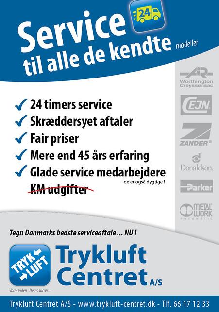 Trykluft Centret A/S tilbyder landsdækkende 24 timers service på kompressorer.