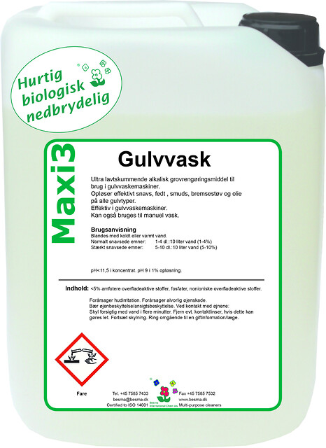 Maxi 3 Gulvvask - En grøn løsning - Maxi 3 Gulvvask
