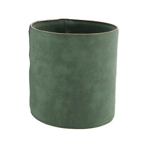 Potteskjuler i læder, Ø15,5cm, grøn