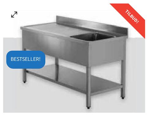 Stålbord med vask og hylde fra 3449 kr. - BILLIGT