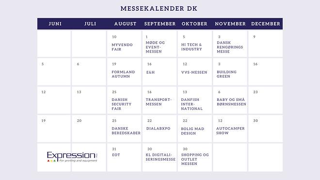 Messekalender i lilla med Expression logo og navne på alle messer i DK i efteråret