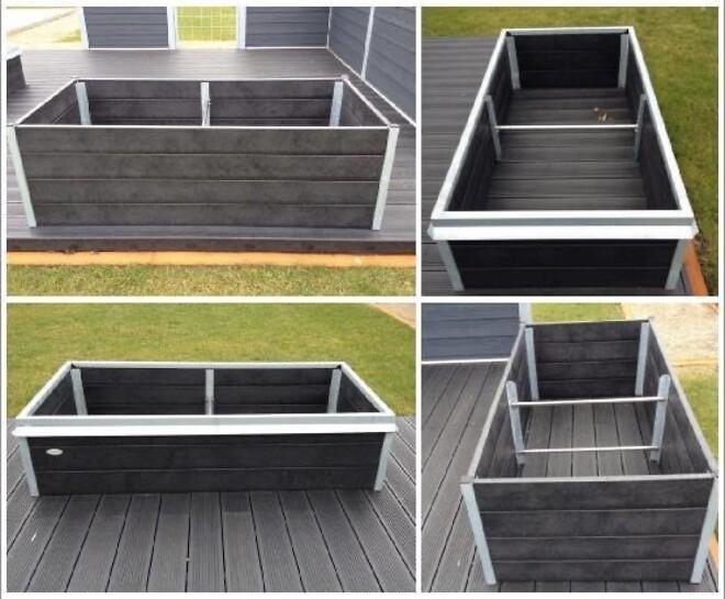 Højbede med sneglekant i galvaniseret stål og plastplanker af genbrugsplast (LDPE, HDPE og PP)