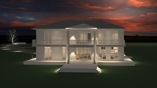AfterDark Lysdesign Simpel visualisering.  Uden texturer. Arkitektonisk facade og terrænlys. Interiørlys. Stemningsskabende lys. Lyssætning