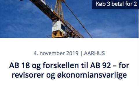 AB 18 og forskellen til AB 92 – for revisorer og økonomiansvarlige - Kursus - AB 18 og forskellen til AB 92 – for revisorer og økonomiansvarlige