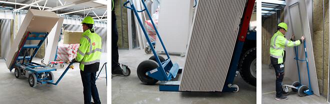 Medarbejdere fra Børge Jacobsen A/S monterer gipsplader med ErgoMover fra GMV