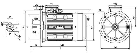 Ie3 ElektromotorHMA3 132S1 2p B5 IE3