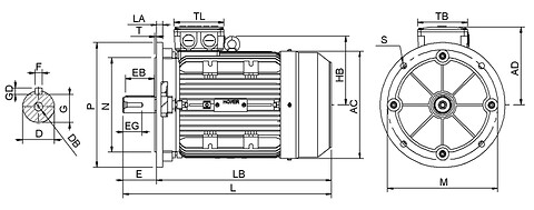 Ie3 ElektromotorHMA3 132M2 6p B5 IE3