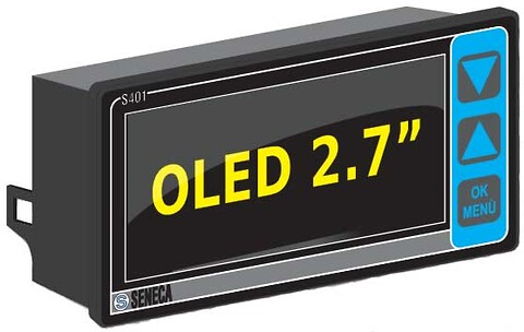 "S401 ModBUS RTU monitor med OLED 2,7"" display"