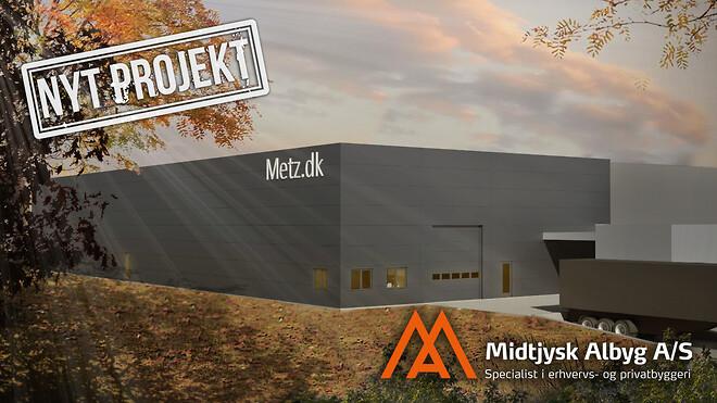 Ny lagerhal / halbyggeri til Baxx & Metzi Nivå. Vi opfører alle typer erhvervsbyggeri og industribyggeri.
