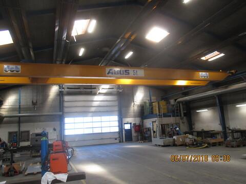 Brugt traverskran 10 ton Abus x 17,63 mtr spænd sælges