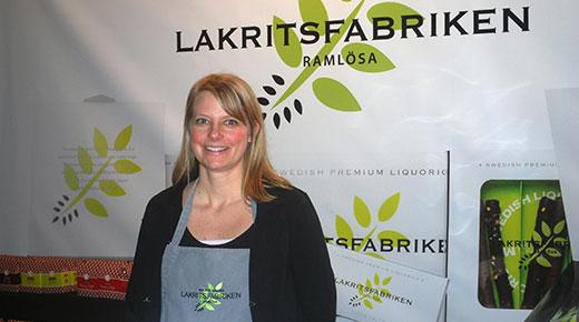 Ann-Sofie Malmgren i Laktritsfabrikens monter