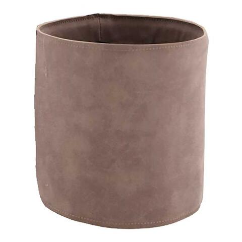 Potteskjuler i læder, Ø15,5cm, grå