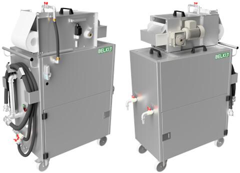 BELKI - Mobilt emulsionsfiltrerings- og olieseparationssystem med indbygget olieseparator og båndfilter. Til filtrering af partikler og lækolie fra kølesmøremidler og andre procesvæsker.