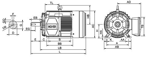Ie3 ElektromotorHMC3 225M 4p B3R IE3