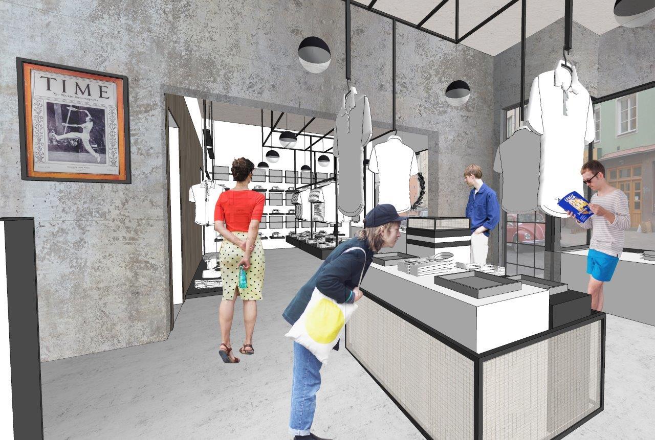 2590ecd40ec Skissbilder på Fred Perrys nya yta och butikskoncept som återöppnar i ny  skrud den 13 juni på Bondegatan i Stockholm.