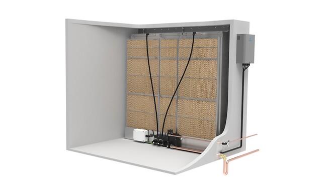 Condair MC består av en evaporativ modul och hydraulenhet monterad inne i aggregatet och en kontrollpanel placerad utanför.