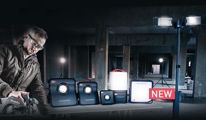 SCANGRIP præsenterer en helt ny serie af arbejdslamper, der bygger på det innovative METABO/CAS batterisystem.