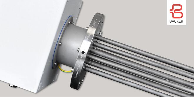Flänsad elpatron utformad för applikationer i tankar och behållare samt flödesvärmare