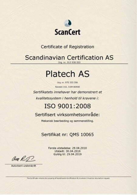 Platech er godkjent etter ISO 9001:2008 standarden