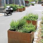 Plantekasser fra Land brugt til gronne faellesarealer