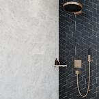Et brusebad fra sort til hvidt og fra bronze til guld