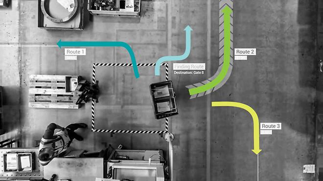 Fetch interne logistikrobotter bringer varer fra A til B mellem produktion og lager. Lager og distribution. Varemodtagelse og varelokation.