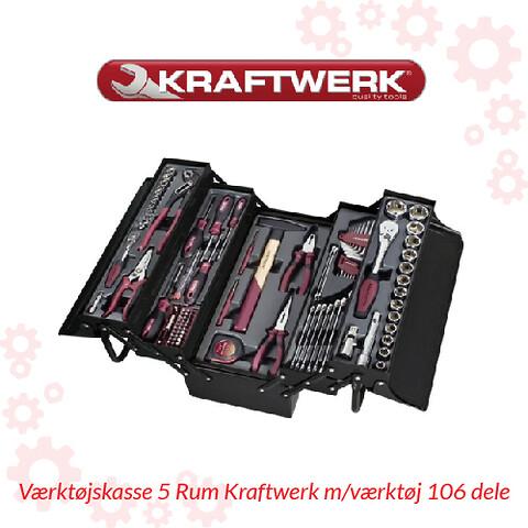 Værktøjskasse 5 Rum Kraftwerk m/værktøj 106 dele