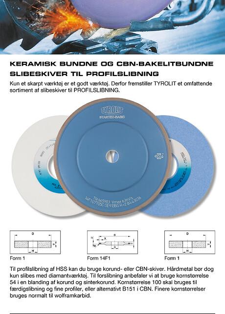 Keramisk bundne og cbn-bakelitbundne slibeskiver til profilslibning