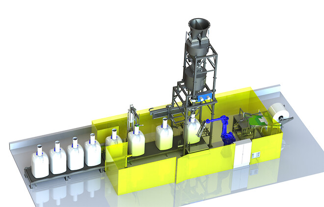 3D drawing of the fully automatic bigbag filling system