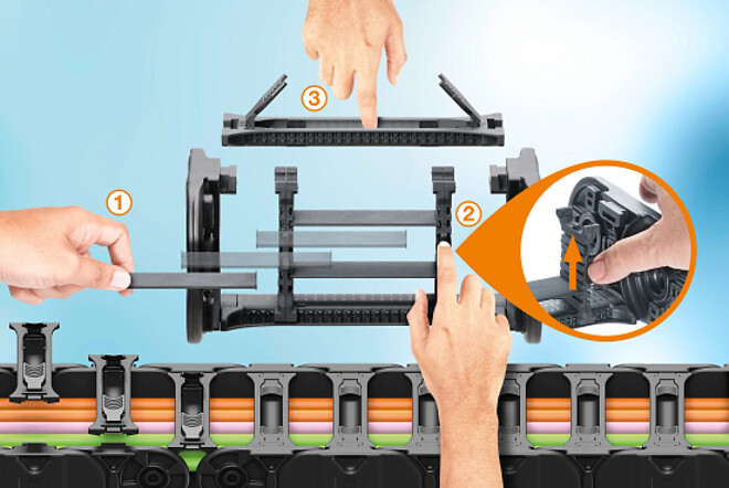 \nUniversal separators and shelves with locking tabs ensure flexible and user-friendly e-chain assembly\n\nSource: Igus Gmbh