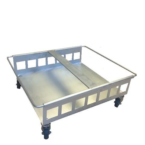 Traller til dobbelt 60Lm/4drejhjul-rustfri stål