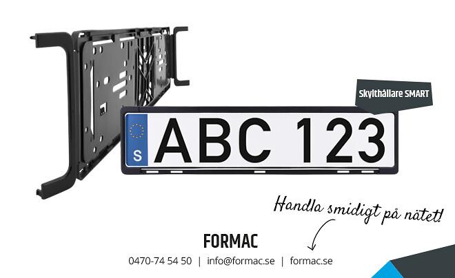 Skylthållaren S M A R T är Formacs nästa generation av skylthållare på marknaden för registreringsskyltar med EU-märke.